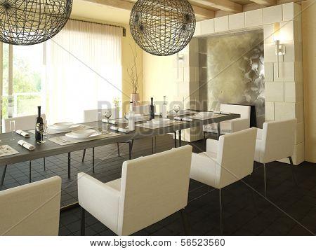 Modern light dining room interior