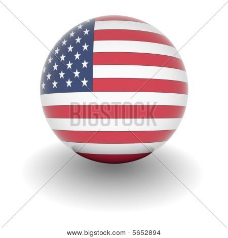High Resolution Ball With Flag Of The Usa