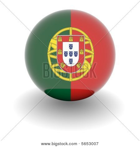 High Resolution Ball With Flag Of Portugal