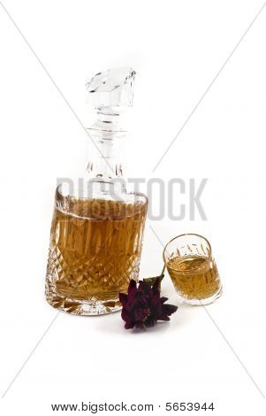 Crystal Decanter With Jiggers For Alcoholic Beverage Over Black