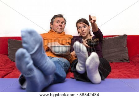 Father And Daughter Enjoys A  Movie