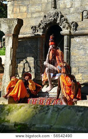 Sadhu Men At Pashupatinath, Nepal