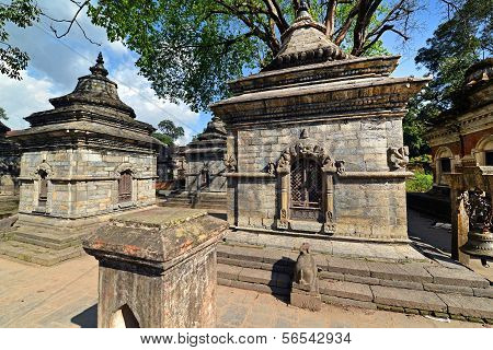 Rows Of Sacred Hindu Temples In Pashupatinath, Nepal