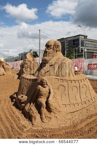 Perm - June 10: Sand Sculpture Charles Darwin At Festival White Nights, On June 10, 2012 In Perm, Ru