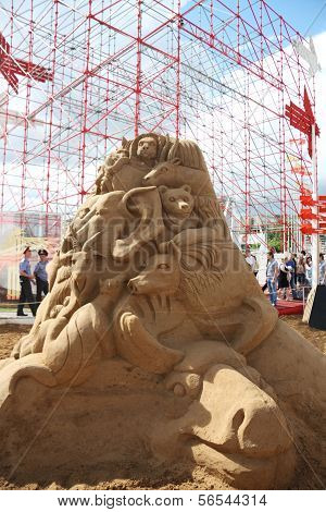Perm - June 10: Sand Sculpture Animals At Festival White Nights, On June 10, 2012 In Perm, Russia.