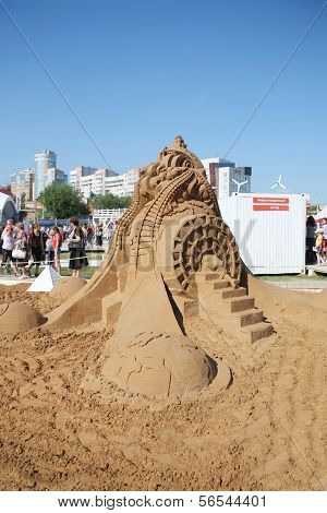Perm - June 7: Sand Sculpture Ideas Of Albert Einstein At Festival White Nights, On June 7, 2012 In