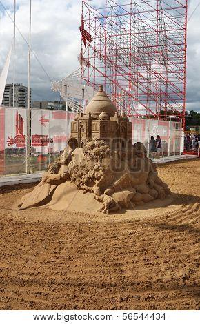 Perm - June 10: Sand Sculpture Omar Khayyam By Konstantin Siryachenko At Festival White Nights, On J