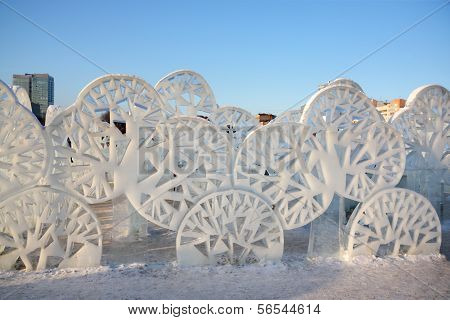 Perm - February 17: Trees In Ice Town, On February 17, 2012 In Perm, Russia. During Winter Holidays