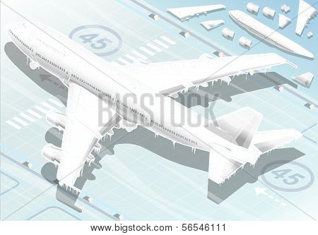 Isometric Frozen Airplane In  Rear View