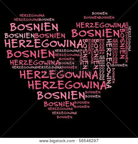 Bosnia and Herzegovina word cloud in pink letters against black background