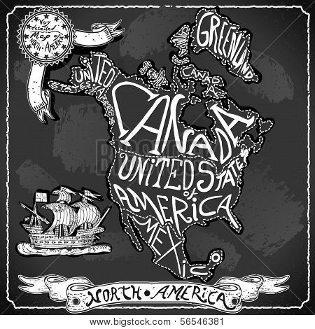 North America Map On Vintage Handwriting Blackboard
