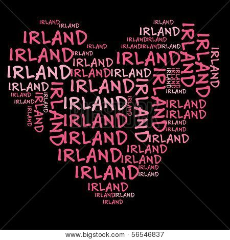 Ireland word cloud in pink letters against black background