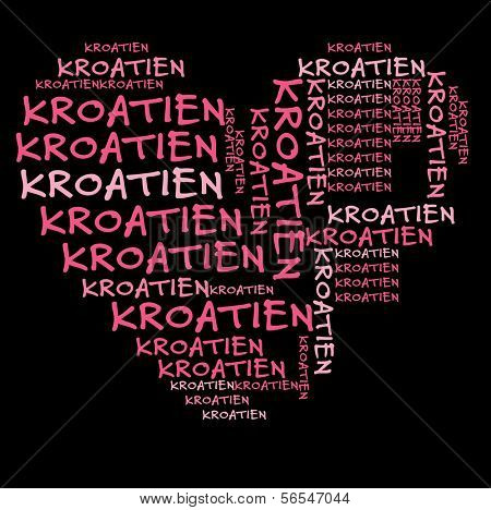 Croatia word cloud in pink letters against black background