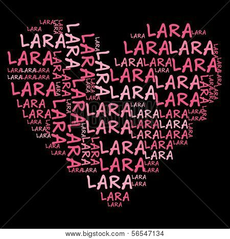 Lara word cloud in pink letters against black background