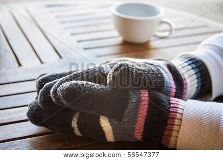 Coffee Bar Customer Hands In Winter