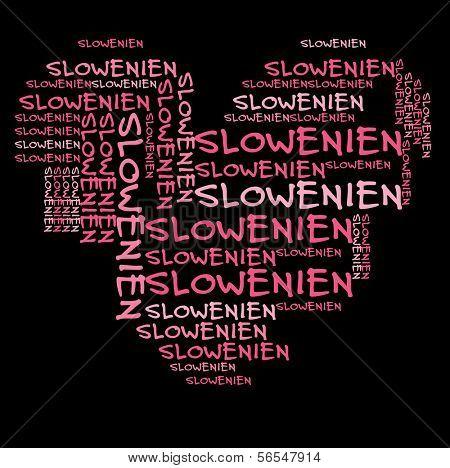 Slowenien-Wort-Wolke in Rosa Schrift auf schwarzen Hintergrund