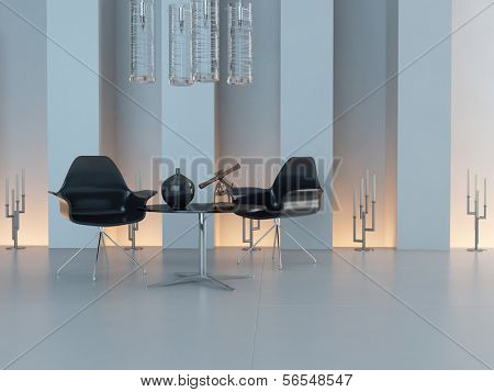 Contemporary design interior with black chairs and candleholder