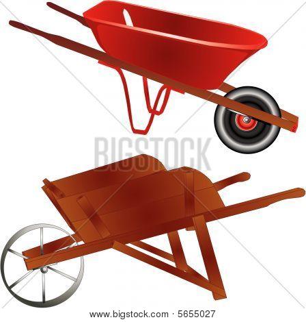 Wheelbarrow, old and new illustration