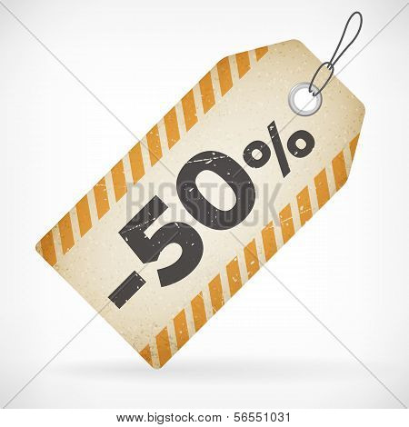 Realistic Paper 50% Sale Off Price Labels