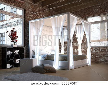 White canopy bed in a loft with brick wall