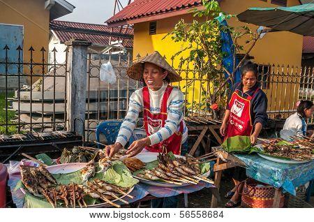 Food Prepared On The Street Vang Vieng