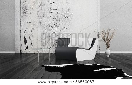 3D rendering of loft apartment interior in black and white