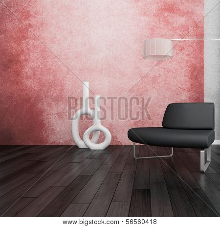 3D rendering of loft apartment interior with minimalist bench and floor lamp against coral color wall