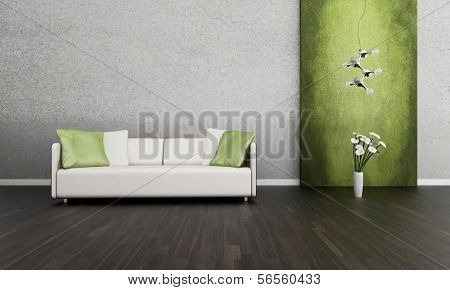3D rendering of loft apartment interior with white couch against lime green wall