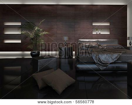 3D rendering of modern bedroom interior