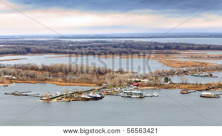 Saratov. View Of Island Zelenyy On Volga River. Russia