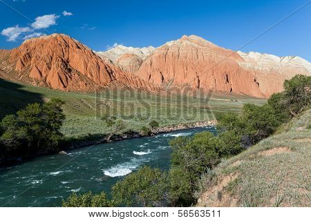 Colourful rocks and Kekemeren river, Kyrgyzstan