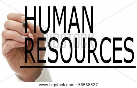 Man Writing Human Resources On A Virtual Screen