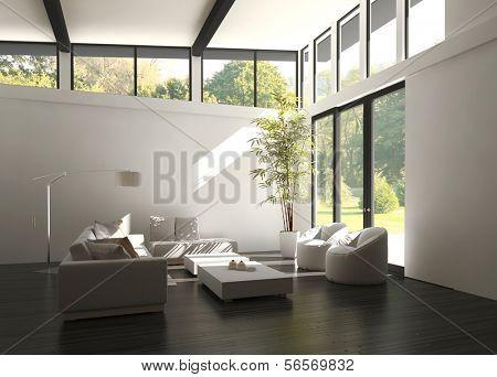 3D rendering of loft apartment interior.