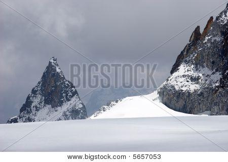 Crossing Glacier In Bad Weather, Himalayas, Nepal
