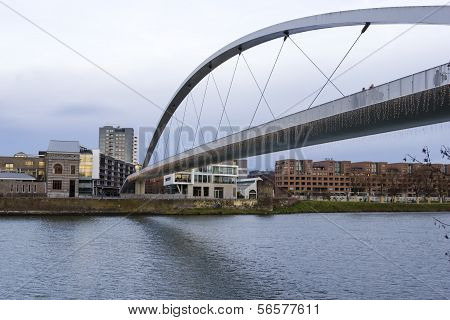 Big Bridge Over The Maas River In Maastricht, Netherlands