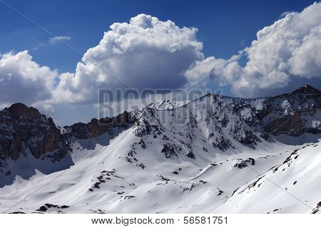 Snowy Mountains And Blue Sky With Cloud In Sun Day