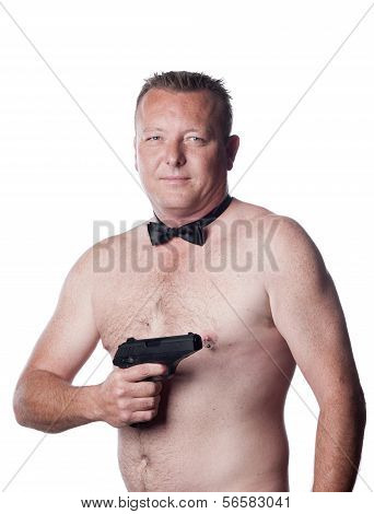 Male With Naked Torso, Gun And Bow Tie