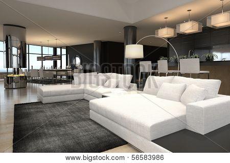 3D rendering of spacious living room
