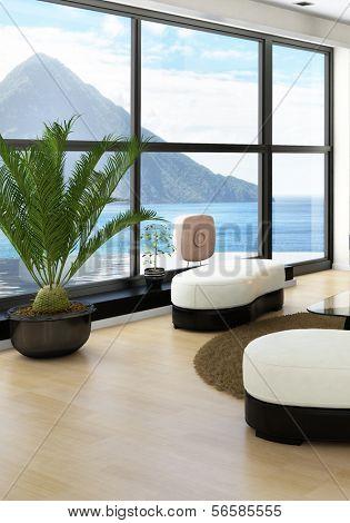 Loft interior with amazing seascape view