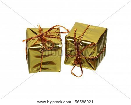 Two Golden Gift Boxes