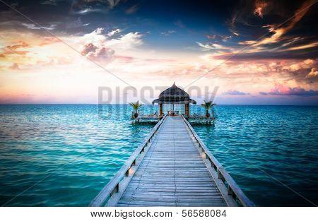 Arbor idílica na água, Ilhas Maldivas