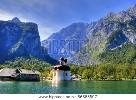 St. Batholom�¤ Church and the eastern face of the Watzmann massif, Germany