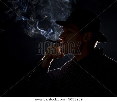 Gangster smoking a cigar