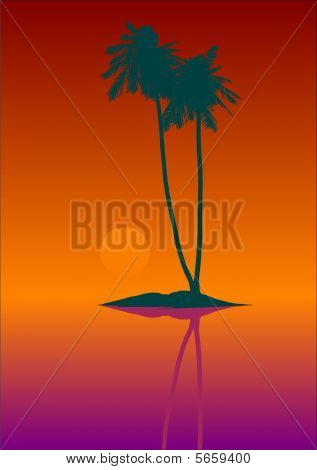 silhouette of tropic island