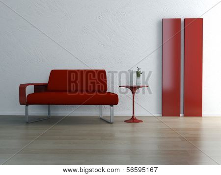 Modern design living room interior with red couch and side table