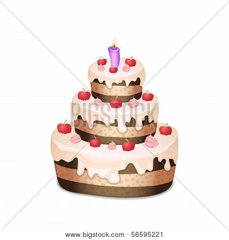 Cake with chocolate and cream, burning candle
