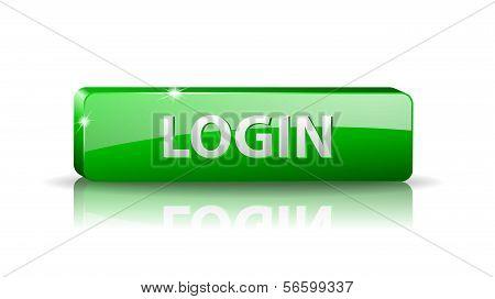3D Green Web Button Login