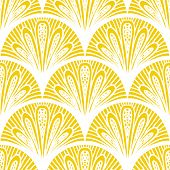 foto of damask  - Art deco vector geometric pattern in bright yellow - JPG