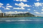 stock photo of waikiki  - Diamond Head and Waikiki on the south shore of Oahu Hawaii - JPG