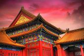 image of emperor  - Temples of the Forbidden City in Beijing China during sunset - JPG